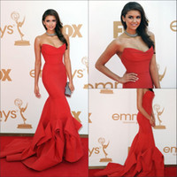 Wholesale 2015 New Emmy Awards Celebrity Dresses With Strapless Ruffles Backless Mermaid Sweep Train Satin Red Nina Dobrev Evening Prom Party Gowns