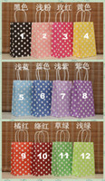 Wholesale Brand New Color X13X8cm Polka dot kraft paper bag Fashionable gift paper bag Festival gift package