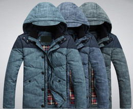 Wholesale white duck down Men s Down Coat with HAT winter Warm Down Jacket Good quality