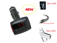 Wholesale Brand New Car MP3 Player FM Transmitter Modulator Radio Support TF USB MMC Multi function Car Kit Remote Control Big LED Screen Audio