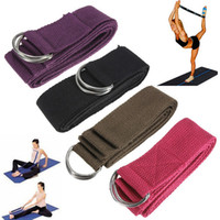 "Yoga Stripes   Free Shipping 180cm 67"" 6FT Yoga Stretching Stretch Strap D-Ring Pilates Belt Figure Waist Leg Fitness Exercise Gym Fitness Band Wholesale"