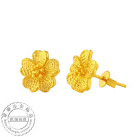 other / other alluvial gold - Five Golden Flowers matte models earrings K gold plated alluvial gold earrings wedding jewelry imitation gold jewelry