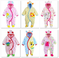Unisex Winter Velour Wholesale Baby Winter Clothes baby's Rompers Footcover Body Suits Thickness Jumpsuits Warmer Bodysuits Outfits W171