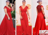 Wholesale 2013 New Kelly Osbourne In th Emmy Awards Red Carpet Celebrity Dresses Red Plus Size Prom Dresses Formal Dresses Gowns for Pageant Chiffon