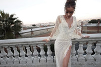 Wholesale famous brand A line wrap long batwing sleeves v neck lace furcal chapel train wedding dress dresses bridal gown custom made Inbal Dror