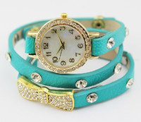 Wholesale 2014 new fashion wrap around bracelet watch bowknot crystal imitation leather chain women s quartz wrist watches