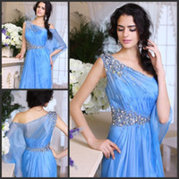 Wholesale Custom Arabic Evening Gowns One Strap Beaded Organza Crystal Evening Dress Sexy Prom Dresses Formal Dresses Dubai Kaftan Indian Sari