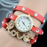 Wholesale 2014 new fashion wrap around bracelet love crystal imitation leather chain women s quartz wrist watches
