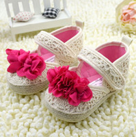 Wholesale Baby Girls Princess Flower Shoes Grass Weaving Rice White Colour Cute Toddler First Walker Shoes Infant Shoes QZ372