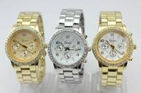 Wholesale 500pcs New Arrival Metal Geneva Fashion diamond Designer Watch Wrist Watch Men silver amp rose gold