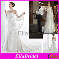 A-Line Reference Images Strapless 2014 New Chic Romantic Appliques Lace Beaded Strapless Wedding Dresses Bridal Gowns Bridal Dresses Matched with Wrap Shawl Demetrios 1465