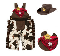 Wholesale Baby Toddler Clothes Classic Cowboy Modelling Suspender Trousers Cap Scarf Boys Set Baby Romper Suit QZ375