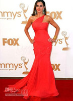 Wholesale Red Sofia Vergara One Shoulder Mermaid Trumpet Sweep Chiffon Emmy Awards Dress Prom Dresses HK204