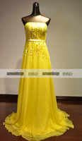 Model Pictures Sweetheart Lace Elie saab Couture Real new arrival yellow gold top beads floor length evening prom dress