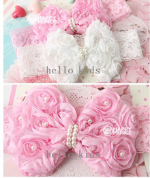 New 2015 2Colors Rose Flowers Pearl Baby Headband, Children Party Headband,10pcs Lot