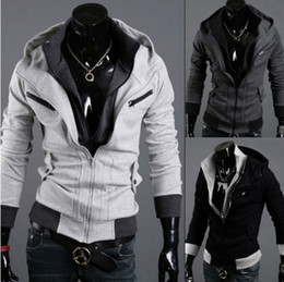 Wholesale 2014 HOT Korea grey Men s Slim Sexy design upset Hoodie men s Jacket men s Coat Size M L XL XXL Drop Shipping