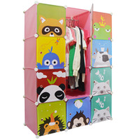 Wholesale Idy simple wardrobe child wardrobe clothes eco friendly storage plastic folding cabinet hanging clothes cabinet