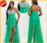 Sweetheart plus size evening dresses - Custom Plus Size HOT Sale Green Sweetheart Chiffon High Low Crystal Bling Chiffon Short Evening Dress Prom Party Formal Dresses Gown