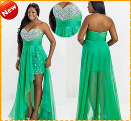 Wholesale Custom Plus Size HOT Sale Green Sweetheart Chiffon High Low Crystal Bling Chiffon Short Evening Dress Prom Party Formal Dresses Gown
