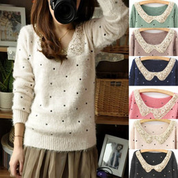 Wholesale Womens Knitted Retro Sequins Scoop Neck Casual Loose Pullover Sweater Tops