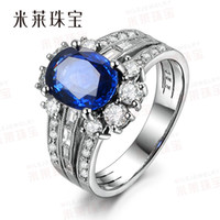 Solitaire Ring genuine diamond ring - 2 kt of Sri Lankan sapphire ring female models genuine diamond ring jewelry Mile