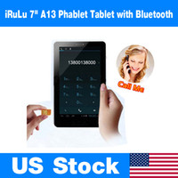Wholesale US Stock iRuLu quot Inch Android Allwinner A13 Phablet Smart Phone GSM Dual Camera G SIM Tablet Unlocked MB GB Bluetooth Tablet PC