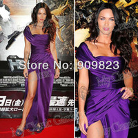 Reference Images A-Line Sleeveless Customer Made Megan Fox One Shoulder Ruffles High Slit Side Purple Full Length Celebrity Dresses