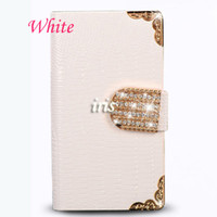 For Samsung PU For Christmas For Samsung Galaxy S4 I9500 S5 i960 Note 3 N9000 N9005 case Crocodile Gold Bling Flip Wallet Credit card slots Case