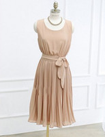 Casual Dresses Round Knee Length New Womens light green sleeveless Pleated cocktail party dress