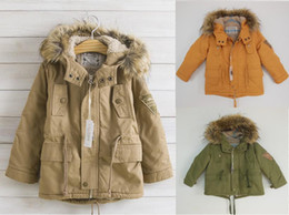 Wholesale Boy Coat Boy CamoFleece Thicken Coat Fashion With Hat Coat Children Outerwear Yellow Army Green Khaki
