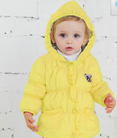 Wholesale High Quaality Baby Thick Cotton Down Coat Girls Winter Outswear with Hat Flower Lace Pink Yellow Color TH Years Baby Coat