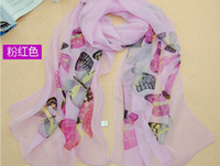 Wholesale 2013 New Style Scarf Sarongs Brisk Butterfly Pattern Scarves Chiffon Printed Scarfs colours
