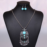 Wholesale 2014 New Indian Style Silver Plated Mini Beads Turquoise Pendant Vintage Pendant Necklace Jewelry Set for Women