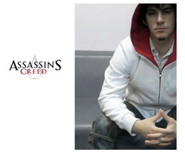 Wholesale Assassin s Creed Sweatshirts Assassin s Creed Brotherhood DESMOND Costume Hoodie White amp Black Hawk pocket hoodie