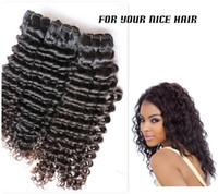 "Deep Wave Malaysian Hair  For Your Nice Hair 3Pcs Lot Malaysian Kinky Curly Virgin Human Hair Weave Bundles 12-28"" 5A Natural Human Wavy Hair Weft DHL Free Shipping"