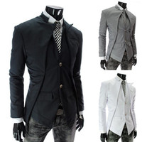 Wholesale 2014 New Brand British Style Slim Men Suits Mens Stylish Design Blazer Casual Business Fashion Jacket Black Grey White color size