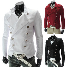 Wholesale 2014 Mens Jackets fashion double breasted man slim thick suit jacket Men s Casual slim fit Blazer Business Formal jackets Colours Size