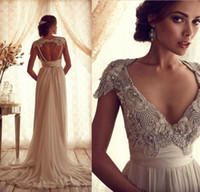 Wholesale Tassel Beads Lace Wedding Dress Inspired Latest Deep V Open Back Bridal Gown Sweetheart Vintage Wedding Gown