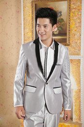 Wholesale 2014 Latest Fashion Men s Wedding Suit Gray Tuxedos Groomsmen Suits Custom Made Bridegroom Three Piece Suit Jacket Pants Tie