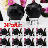Ceramic Furniture Handle & Knob TK0738# 24Pcs Lot Wholesale 30mm Cupboard Knob Glass Crystal Cabinet Drawer Knob Kitchen Pull Handle Door Wardrobe Hardware Black TK0738