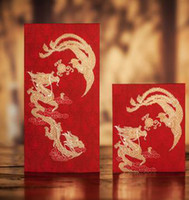Wholesale CHINA TRADITIONAL Wedding Favor Red Packet Money Envelope Gift bag Hot Stamping Dragon and Phoenix Pattern