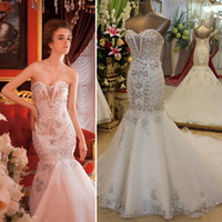 Trumpet/Mermaid Model Pictures Sweetheart Real Sample Empire Sweet-heart Lace-up Back Mermaid Long Organza Crystals Heavy Beaded Wedding Dresses