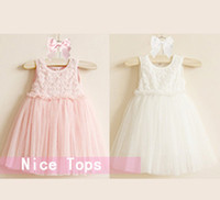 Children Summer Rose Lace Sleeveless Tutu Dress Flower Bow L...