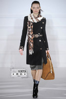 Wholesale Fashion designer Junoesque women wool cost elegant slim coat with belt scarf black red apricot