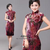 Wholesale Chrysanthemum velvet silk cheongsam dress