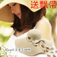 Wholesale Thickening bandeaus big along the cap sun shading sun hat beach cap large brim hat big strawhat
