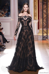 Wholesale Zuhair Murad Prom Dresses Evening Gowns A Line Sheer Black Lace Beaded Long Sleeves Off Shoulder Floor Length Celebrity Dresses ED01