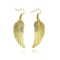 Wholesale Gold Diamonds Drop Earrings Vintage Gold And Silver Angel Wings Dangle Earrings With Rhinestones PARS