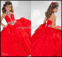 Girl amazing baby pictures - Amazing Halter Bling Little Girl s Pageant Dresses Ball Gown Glitz Cheap Organza Crystals Red Sequins Baby Dress For Girls Kids Party
