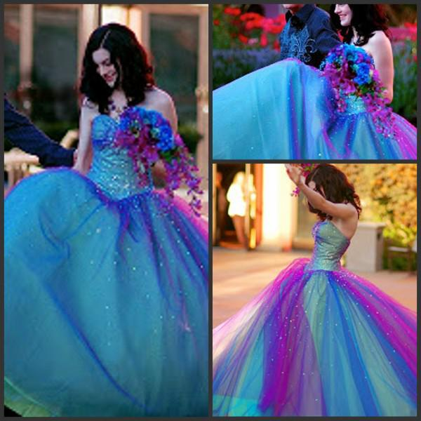 2015 New Hot Sales! Sexy Two Tone Beaded Blue Purple Sweetheart ...